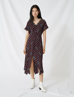 Maje Crepe midi dress with scarf print