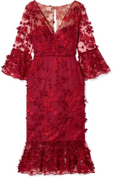 Marchesa Velvet-trimmed Appliquéd Tulle Midi Dress - Red