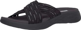Skechers Women's GO Run 600-SUNRISE Slide Sandal Black 7 M US