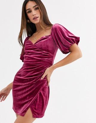 Glamorous puff sleeve mini dress in velvet-Pink