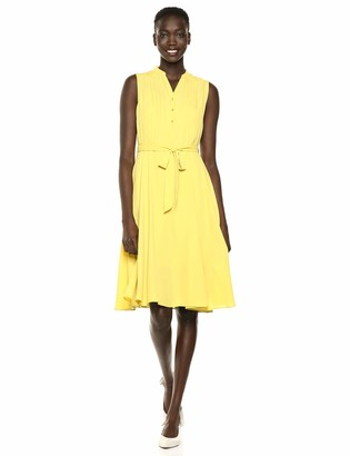 Nanette Lepore Women's Slvls Henley Neck Pintuck Shirtdress