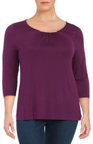 Lord & Taylor Plus Bar-Accented Knit Top