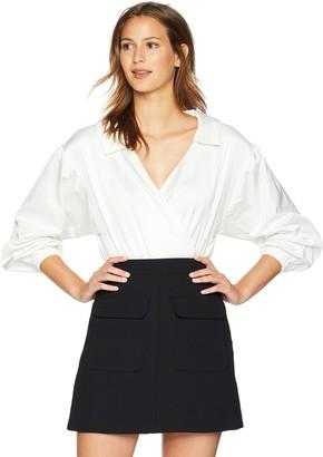 Milly Women's Duchess Taffeta Long Sleeve Wrap Top Bodysuit
