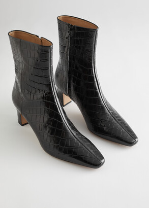 And other stories Croc Leather Heeled Ankle Boots