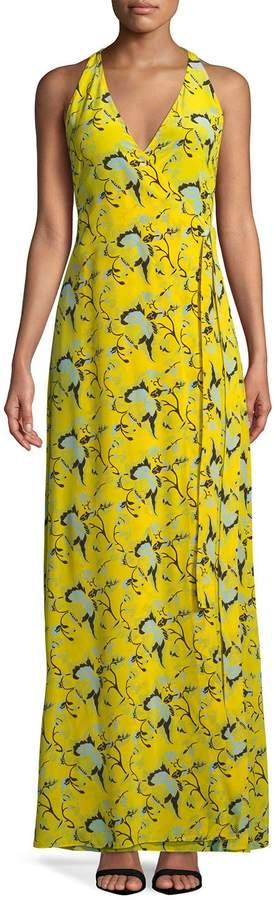Diane von Furstenberg Floral Sleeveless Maxi Wrap Dress