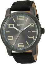 Roots Men's 'Core' Quartz Stainless Steel and Leather Casual Watch, Color:Black (Model: 1R-LF422GY2B)