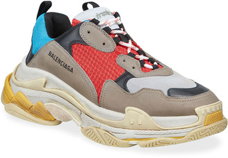 Balenciaga Men's Triple S Mesh & Leather Sneakers, Blue