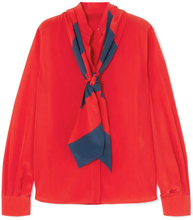 Givenchy Pussy-bow Silk Crepe De Chine Blouse - Red