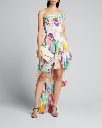 Caroline Constas Lola Smocked Strapless High-Low Dress