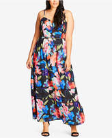 City Chic Trendy Plus Size Cutout-Trim Maxi Dress