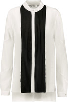 Vionnet Two-tone pleated silk-crepe blouse
