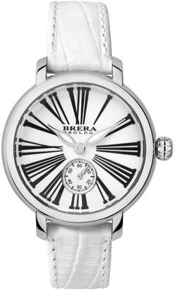 Brera Orologi Woman's Classic Valentina Watch SS White Dial White Lizard Print Leather Strap