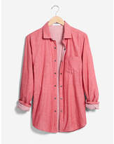 Express reversible solid and stripe button-up shirt