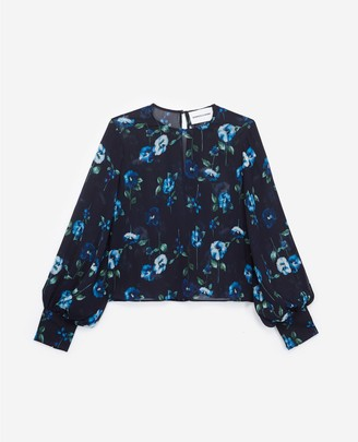 The Kooples Printed viscose top with puffed sleeves