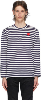 Comme des Garcons Navy and White Striped Heart Patch Long Sleeve T-Shirt