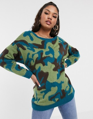 Asos DESIGN brushed camo off shoulder oversized jumper