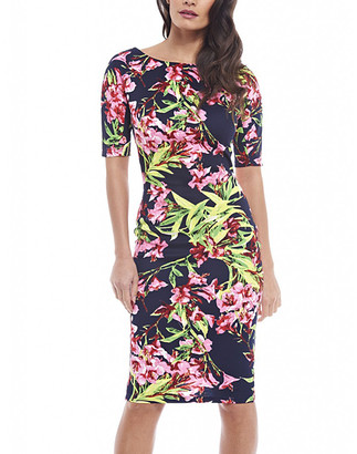 AX Paris Women's Special Occasion Dresses Multicolored - Navy & Pink Floral Elbow-Sleeve Sheath Dress - Women