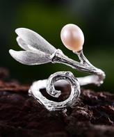 Lotus Fun Women's Rings White - White Pearl & Sterling Silver Swirled Flower Adjustable Ring