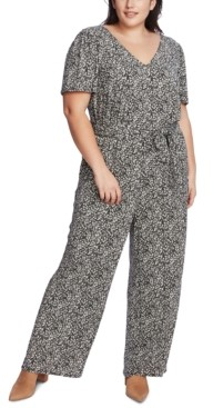 1 STATE Plus Size Printed Belted Jumpsuit