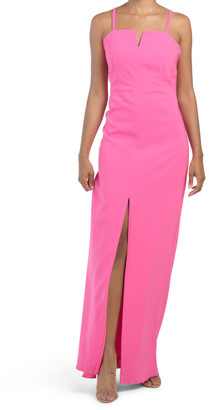 Front Slit Stretch Crepe Gown