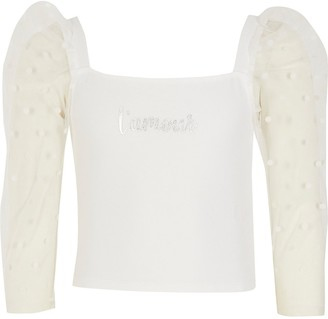 River Island Girls white 'L'amour' dot mesh sleeve top