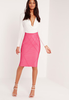 Missguided Premium Lattice Effect Bandage Skirt Pink