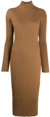 Kenzo Ribbed Knit Slit Detail Dress