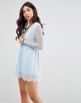 Motel Wrap Front Skater Dress In Delicate Lace