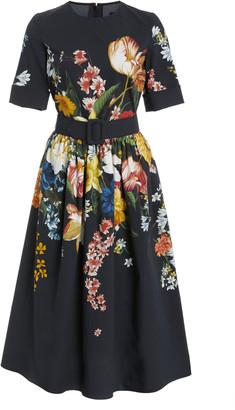 Oscar de la Renta Floral-Print Cotton-Blend Dress