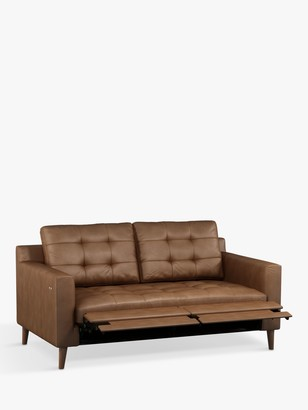 John Lewis & Partners Draper Motion Medium 2 Seater Leather Sofa with Footrest Mechanism, Dark Leg