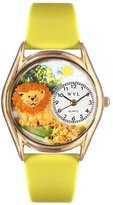 Whimsical Watches Kids' C0150003 Classic Gold Lion Yellow Leather And Goldtone Watch