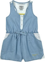 Pepe Jeans Chambray and broderie anglaise lace shortall