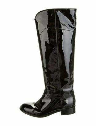 Chanel Interlocking CC Logo Patent Leather Riding Boots Black