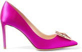 Nicholas Kirkwood Eden Jewel Crystal-embellished Satin Pumps - Fuchsia