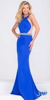 JVN by Jovani Rhinestone Encrusted Waist Trumpet Prom Dress