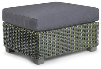 Eddie Bauer Traverse Outdoor Ottoman with Sunbrella Cushions Frame Color: Gray/Lime, Fabric Color: Cast Slate