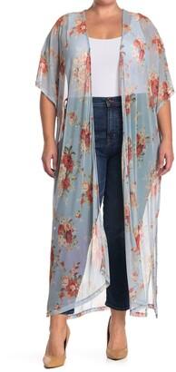 GOOD LUCK GEM Mesh Floral Print Short Sleeve Kimono
