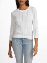 White + Warren Cotton Button Cuff Open Crewneck