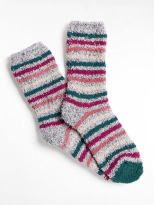 White Stuff Stripe Fluffy Sock
