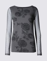 Marks and Spencer Floral Print Mesh Sleeve Jersey Top