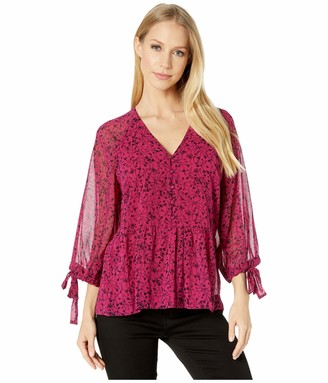 Kensie Women's Floral Vines Printed 3/4 Sleeve Button Front Blouse Top