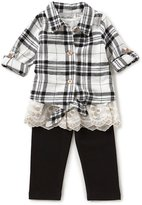 Rare Editions Baby Girls 12-24 Months Button-Down Plaid Shirt & Leggings Set