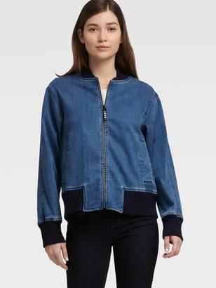 DKNY Women's Bomber Jacket - Medium Wash - Size XX-Small