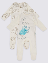 Marks and Spencer 2 Pack Pure Cotton Peter RabbitTM Sleepsuits