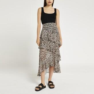 River Island Womens Brown animal print ruffle midi skirt
