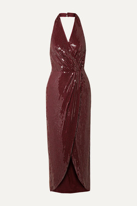 HANEY Aurora Wrap-effect Embellished Mesh Halterneck Midi Dress - Burgundy