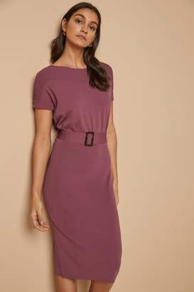 Next Womens Pink Belted Boat Neck Dress - Pink