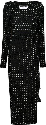 Rotate by Birger Christensen Polka-Dot Print Wrap Dress