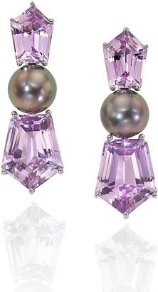 Assael Platinum Pearl Kunzite Clip Earrings