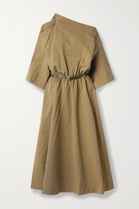 Petar Petrov Atlanta Belted Cutout Cotton And Silk-blend Midi Dress - Army green